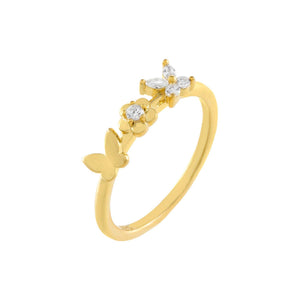 Gold Butterfly X Flower Ring - Adina's Jewels