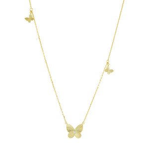 Gold CZ Triple Butterfly Long Station Necklace - Adina's Jewels