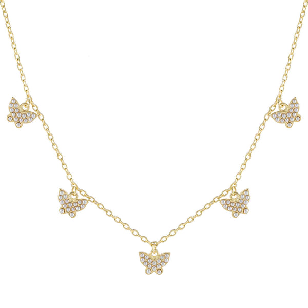 Pearl White Pearl Multi Butterfly Necklace - Adina's Jewels