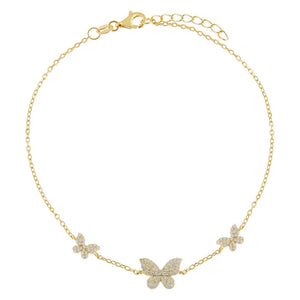 Gold Pavé Triple Butterfly Anklet - Adina's Jewels