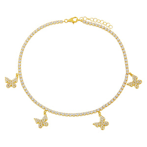 Gold Dangling Butterfly Tennis Anklet - Adina's Jewels
