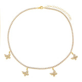 Dangling Butterfly Tennis Choker - Adina's Jewels