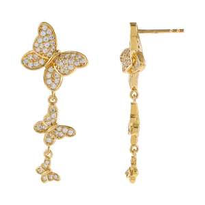 Gold Pavé Triple Butterfly Drop Stud Earring - Adina's Jewels