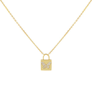 Gold Pavé Butterfly Lock Necklace - Adina's Jewels