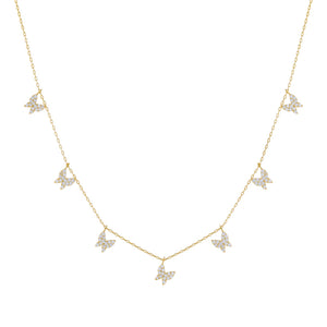 Gold Pavé Multi Butterfly Necklace - Adina's Jewels