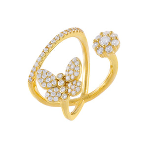 Gold / 6 Pavé Butterfly X Flower Ring - Adina's Jewels