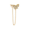 14K Gold / Single CZ Butterfly Chain Stud Earring 14K - Adina's Jewels