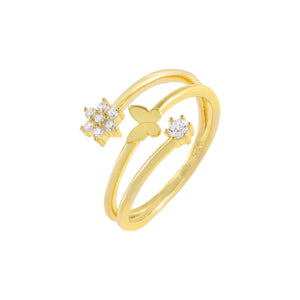 Gold / 6 CZ Flower X Butterfly Wrap Ring - Adina's Jewels