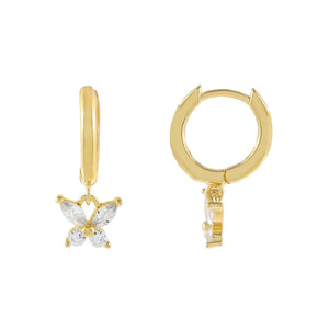 Gold CZ Crystal Butterfly Huggie Earring - Adina's Jewels