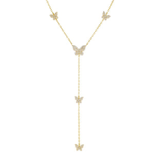 Gold Pavé Butterfly Lariat - Adina's Jewels