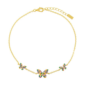Multi-Color Pavé Rainbow Triple Butterfly Anklet - Adina's Jewels
