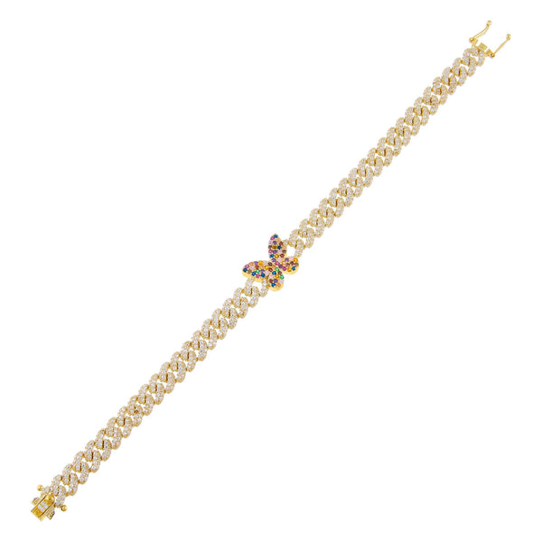 Multi-Color Pavé Rainbow Butterfly Chain Link Bracelet - Adina's Jewels