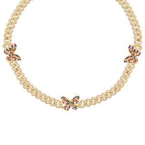 Multi-Color Pavé Rainbow Butterfly Chain Link Choker - Adina's Jewels