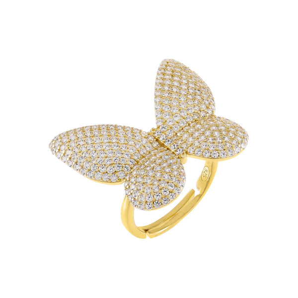 Gold / 6 Pavé Large Butterfly Ring - Adina's Jewels