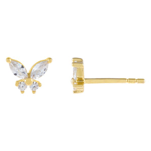 Gold CZ Crystal Butterfly Stud Earring - Adina's Jewels