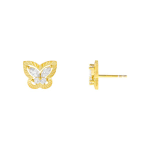 Gold CZ Illusion Butterfly Stud Earring - Adina's Jewels
