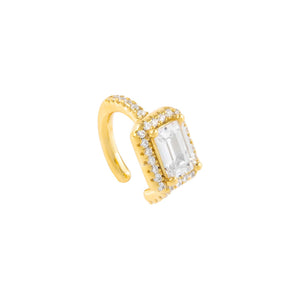 Gold / Single CZ Baguette Ear Cuff - Adina's Jewels