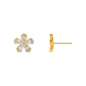 Diamond Flower Baguette Stud Earring 14K