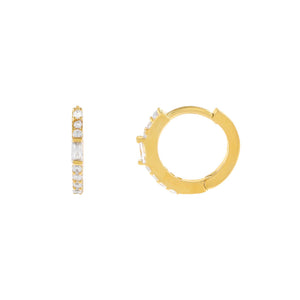 Gold Thin CZ X Baguette Huggie Earring - Adina's Jewels
