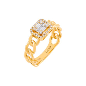 14K Gold / 6 Diamond Illusion Baguette Braided Ring 18K - Adina's Jewels