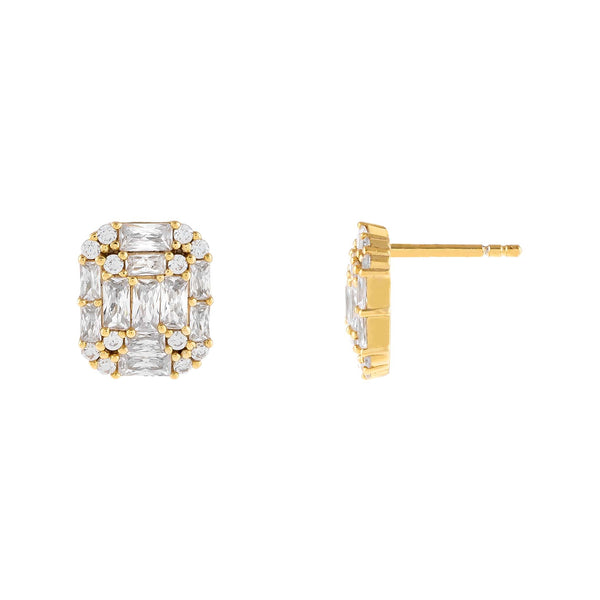 Gold CZ Illusion Baguette Stud Earring - Adina's Jewels
