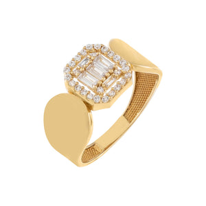 14K Gold / 7 CZ Illusion Signet Ring 14K - Adina's Jewels