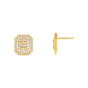 Gold CZ Colored Illusion Stud Earring - Adina's Jewels