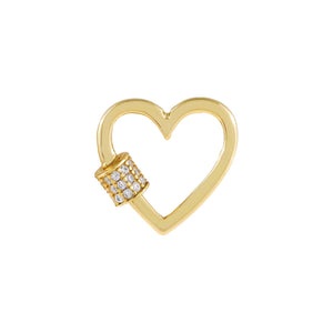 Gold Pavé Mini Toggle Heart Necklace Charm - Adina's Jewels