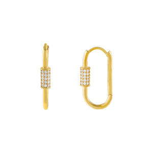 Gold Pavé Toggle Huggie Earring - Adina's Jewels