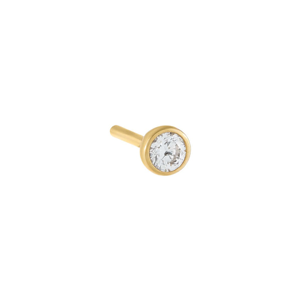 14K Gold / Single Diamond Bezel Stud Earring 14K - Adina's Jewels