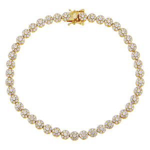 Gold Pavé Multi Flower Anklet - Adina's Jewels