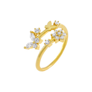 Gold / 6 CZ Butterfly X Flower Wrap Ring - Adina's Jewels