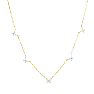 Gold CZ Crystal Multi Butterfly Necklace - Adina's Jewels