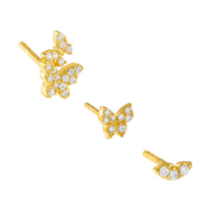 Gold CZ Multi Shape Stud Earring Combo Set - Adina's Jewels