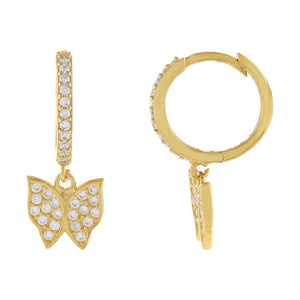 Gold CZ Butterfly Huggie Earring - Adina's Jewels
