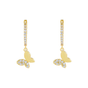 Gold Pavé x Solid Butterfly Huggie Earring - Adina's Jewels