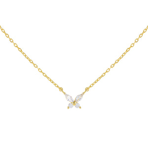 Gold CZ Crystal Butterfly Necklace - Adina's Jewels
