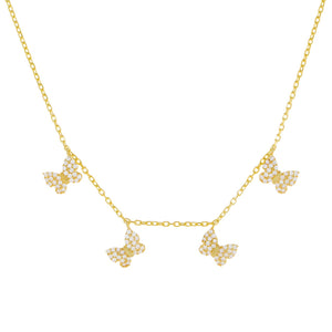 Gold Pavé Mini Butterflies Necklace - Adina's Jewels