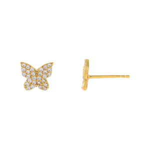 Gold Mini Pavé Butterfly Stud Earring - Adina's Jewels