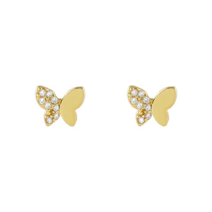 Gold Pavé x Solid Butterfly Stud Earring - Adina's Jewels