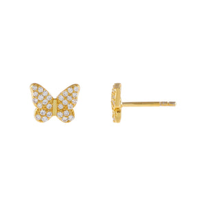 Gold Pavé Butterfly Stud Earring - Adina's Jewels