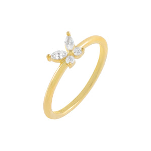 Gold / 6 CZ Crystal Butterfly Ring - Adina's Jewels