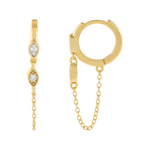 Gold CZ Bezel Evil Eye Chain Huggie Earring - Adina's Jewels