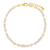 Gold CZ Multi Shape Stone Anklet - Adina's Jewels