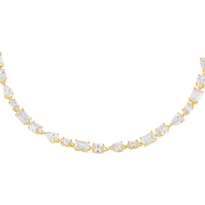 Gold CZ Multi Shape Stone Choker - Adina's Jewels