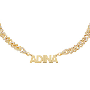 Gold Mini Nameplate Pavé Chain Link Choker - Adina's Jewels