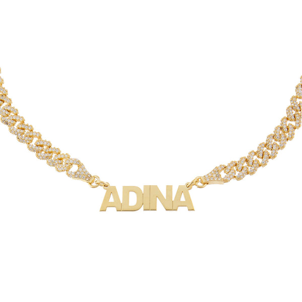 Gold Block Nameplate Pavé Chain Link Choker - Adina's Jewels