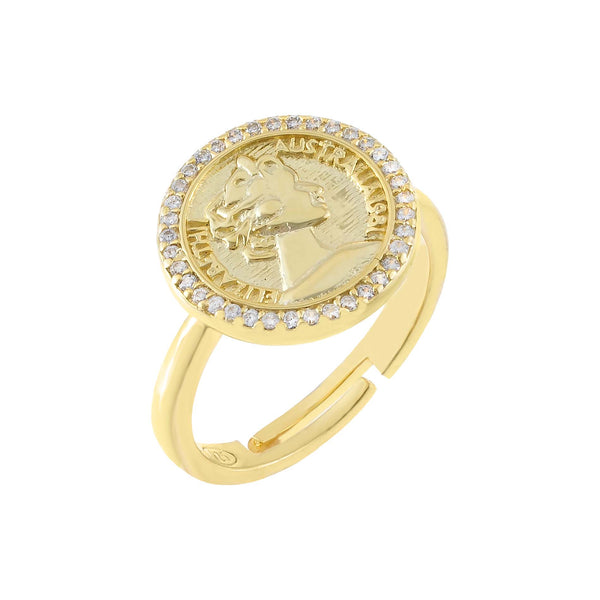 Gold Pavé Coin Ring - Adina's Jewels