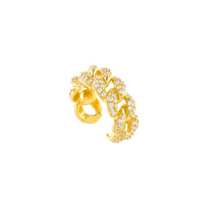 Gold / Single Pavé Twisted Ear Cuff - Adina's Jewels