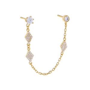 Gold / Single CZ Multi Shape Chain Stud Earring - Adina's Jewels